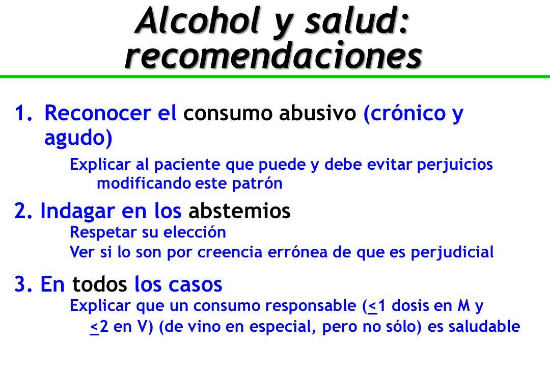 Alcohol y salud: recomendaciones