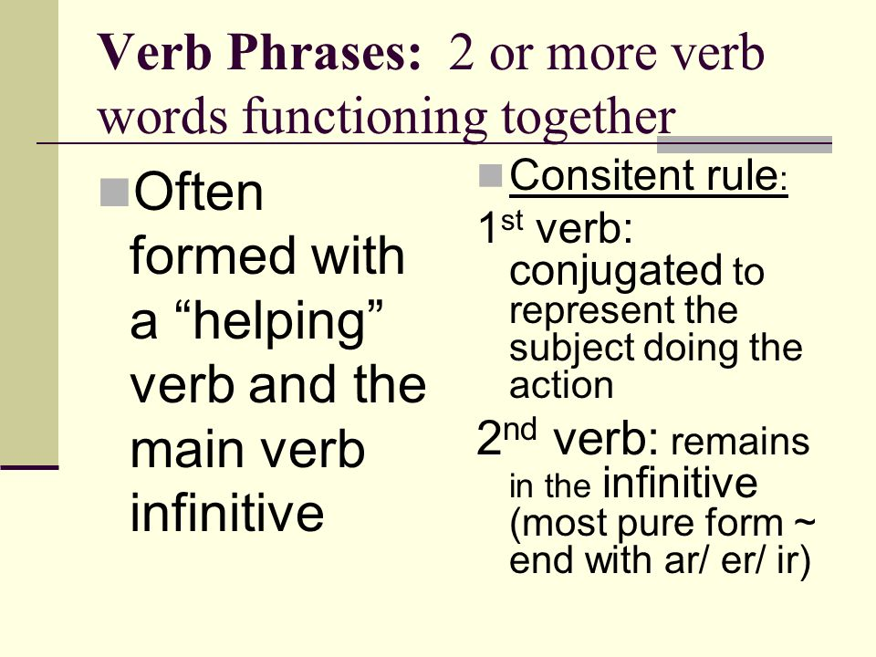 Verb Phrases: 2 or more verb words functioning together