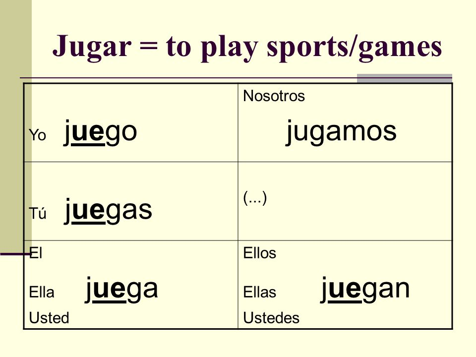 Jugar = to play sports/games