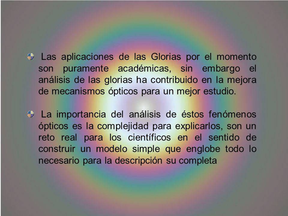 Las aplicaciones de las Glorias por el momento son puramente académicas, sin embargo el análisis de las glorias ha contribuido en la mejora de mecanismos ópticos para un mejor estudio.
