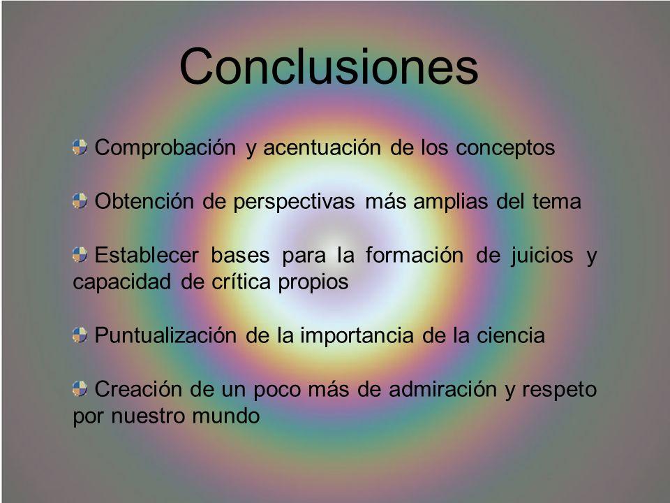 Conclusiones Comprobación y acentuación de los conceptos