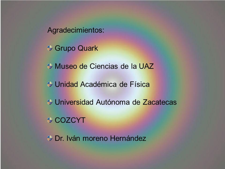 Agradecimientos: Grupo Quark. Museo de Ciencias de la UAZ. Unidad Académica de Física. Universidad Autónoma de Zacatecas.