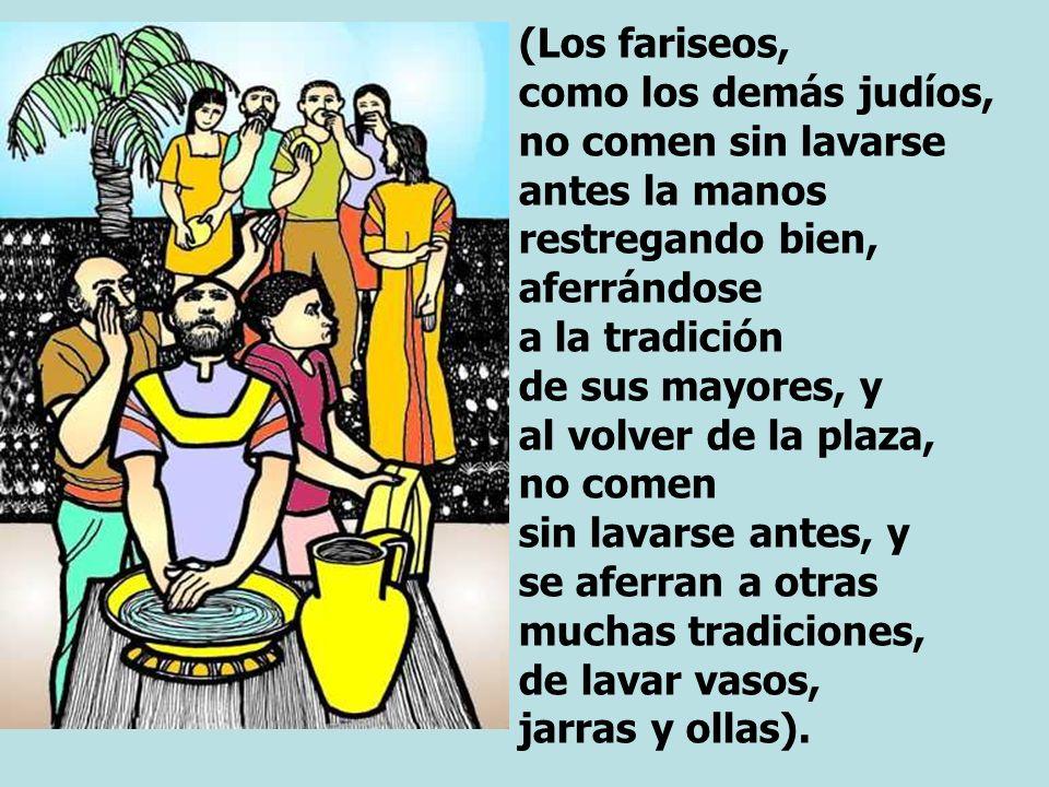 (Los fariseos, como los demás judíos, no comen sin lavarse antes la manos restregando bien, aferrándose a la tradición de sus mayores, y al volver de la plaza, no comen sin lavarse antes, y se aferran a otras muchas tradiciones, de lavar vasos, jarras y ollas).