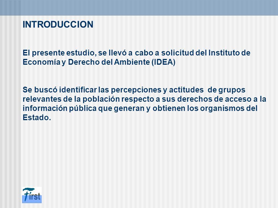 INTRODUCCION El presente estudio, se llevó a cabo a solicitud del Instituto de Economía y Derecho del Ambiente (IDEA)
