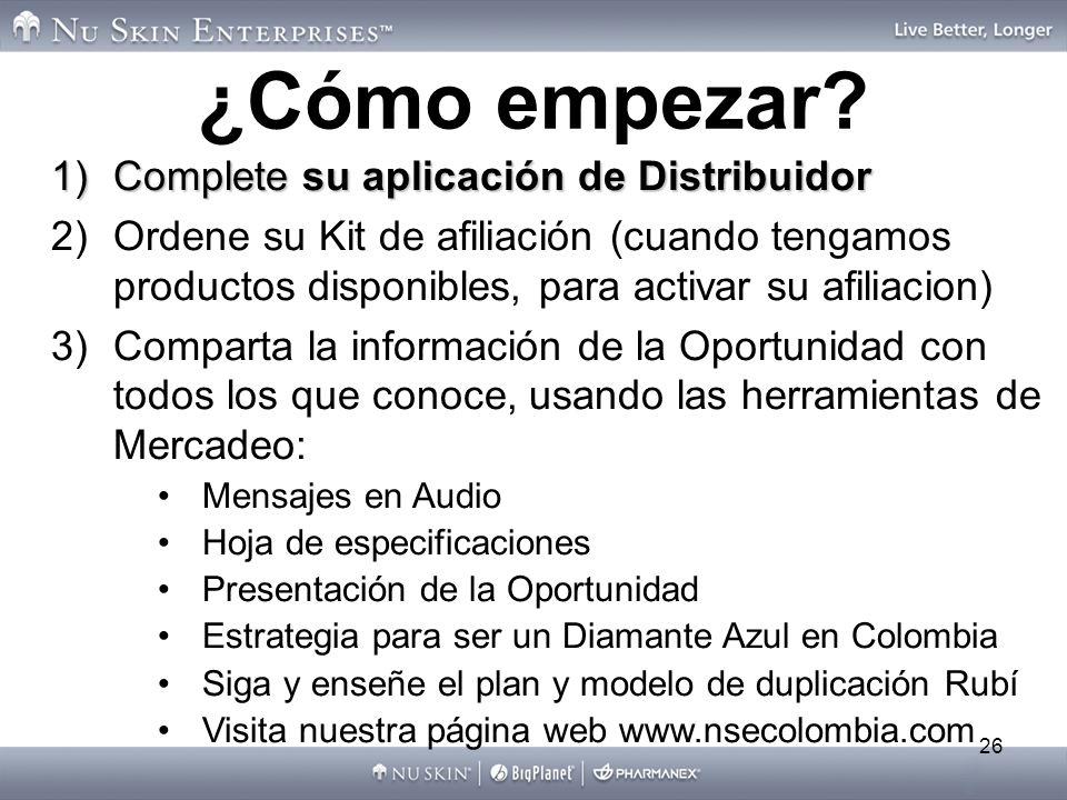 ¿Cómo empezar Complete su aplicación de Distribuidor