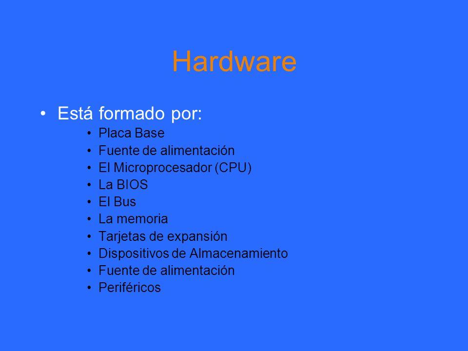 Hardware Está formado por: Placa Base Fuente de alimentación