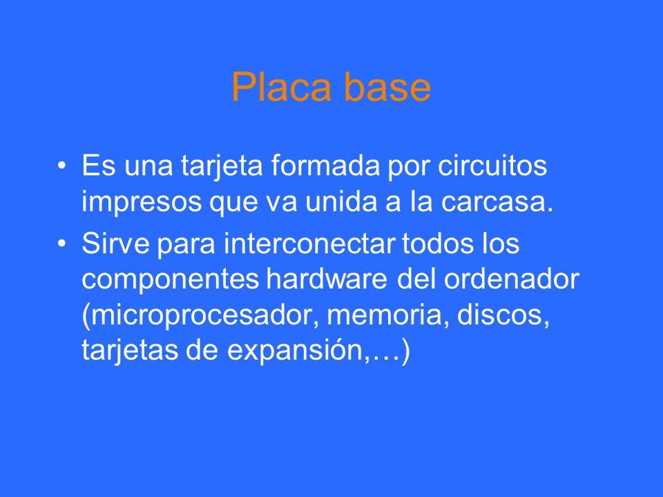 Placa base Es una tarjeta formada por circuitos impresos que va unida a la carcasa.