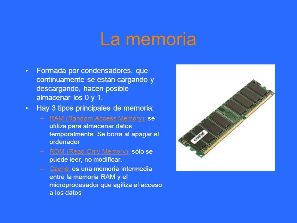 La memoria Formada por condensadores, que continuamente se están cargando y descargando, hacen posible almacenar los 0 y 1.