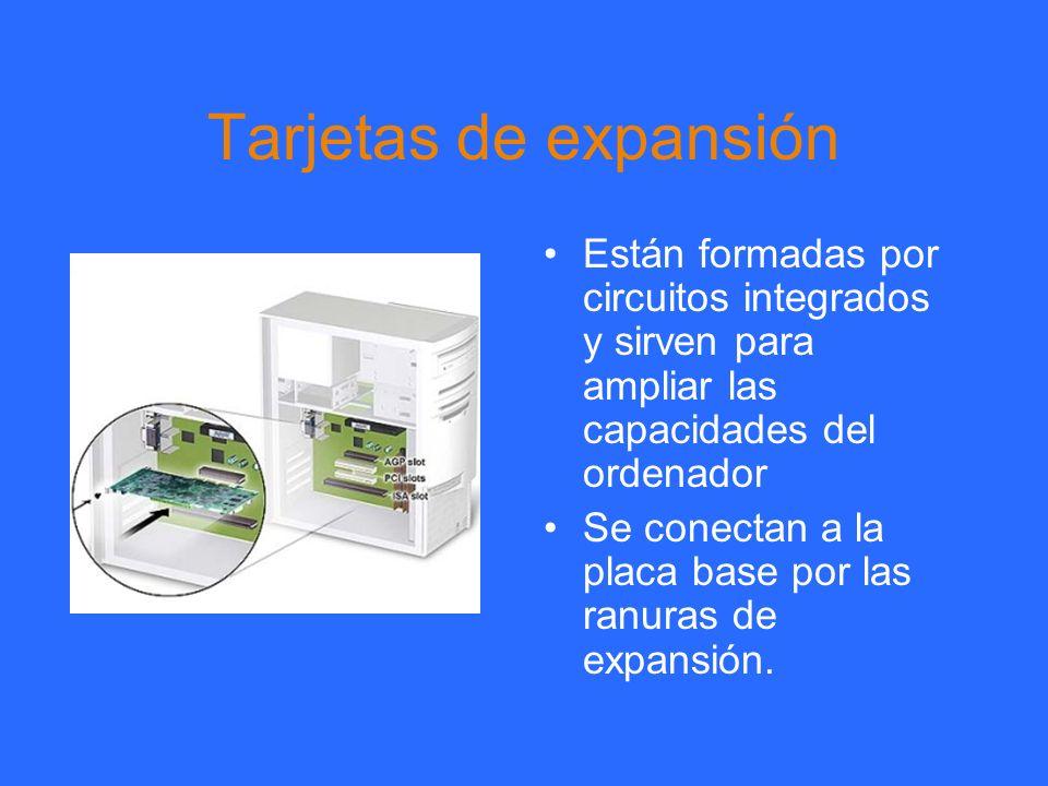 Tarjetas de expansión Están formadas por circuitos integrados y sirven para ampliar las capacidades del ordenador.