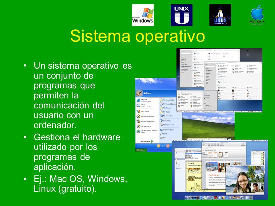 Sistema operativo Un sistema operativo es un conjunto de programas que permiten la comunicación del usuario con un ordenador.