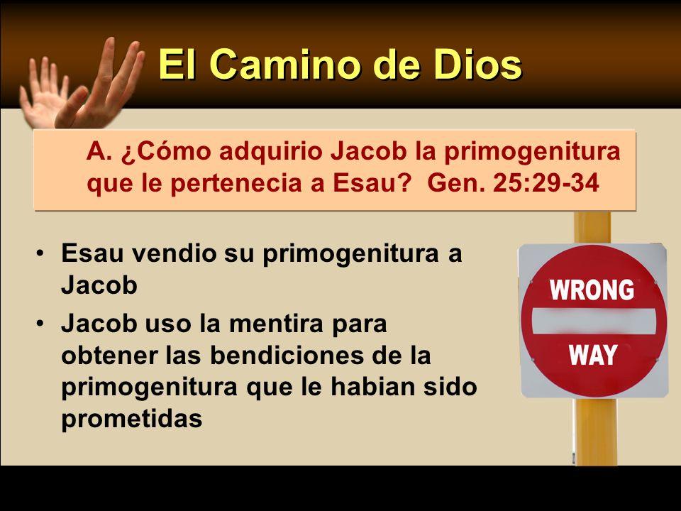 El Camino de Dios A. ¿Cómo adquirio Jacob la primogenitura que le pertenecia a Esau Gen. 25:29-34.