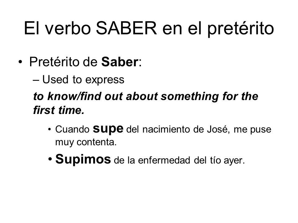 El verbo SABER en el pretérito