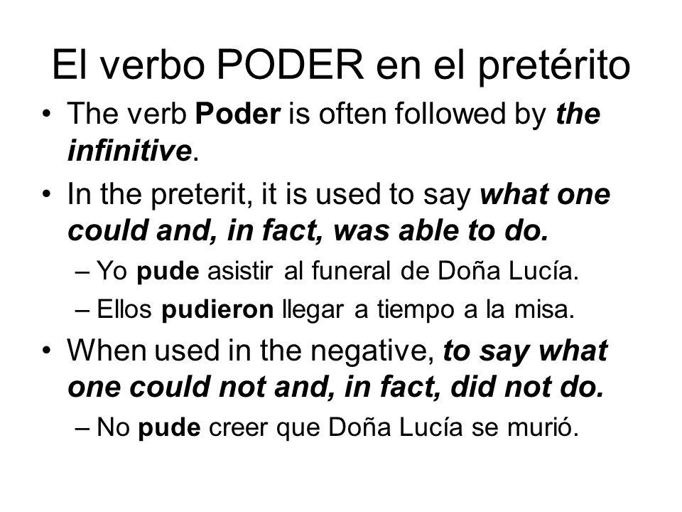 El verbo PODER en el pretérito