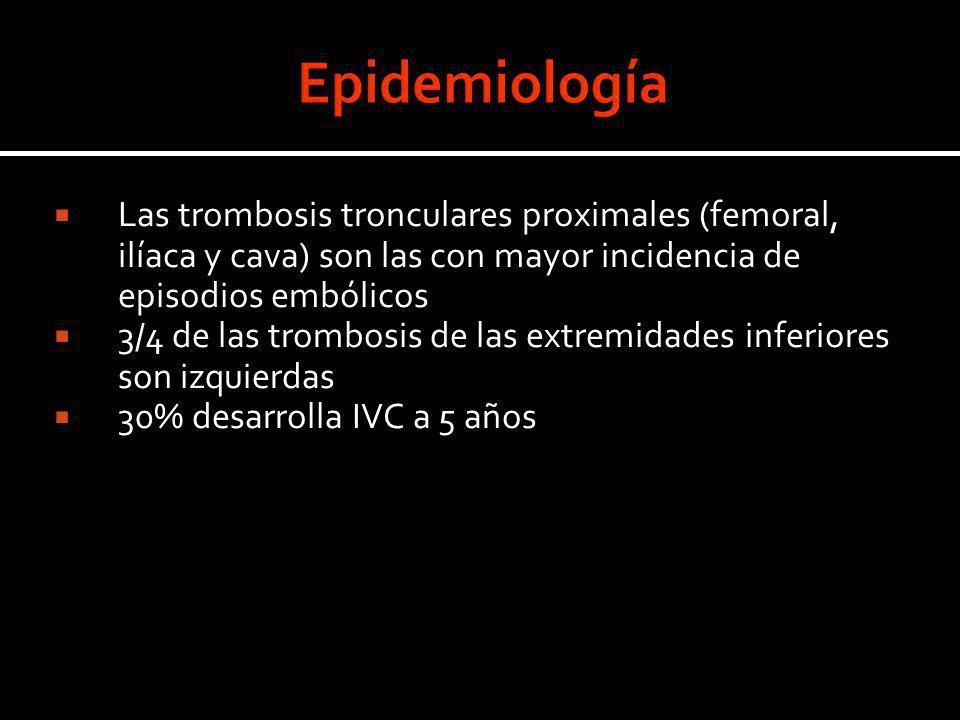 Epidemiología Las trombosis tronculares proximales (femoral, ilíaca y cava) son las con mayor incidencia de episodios embólicos.