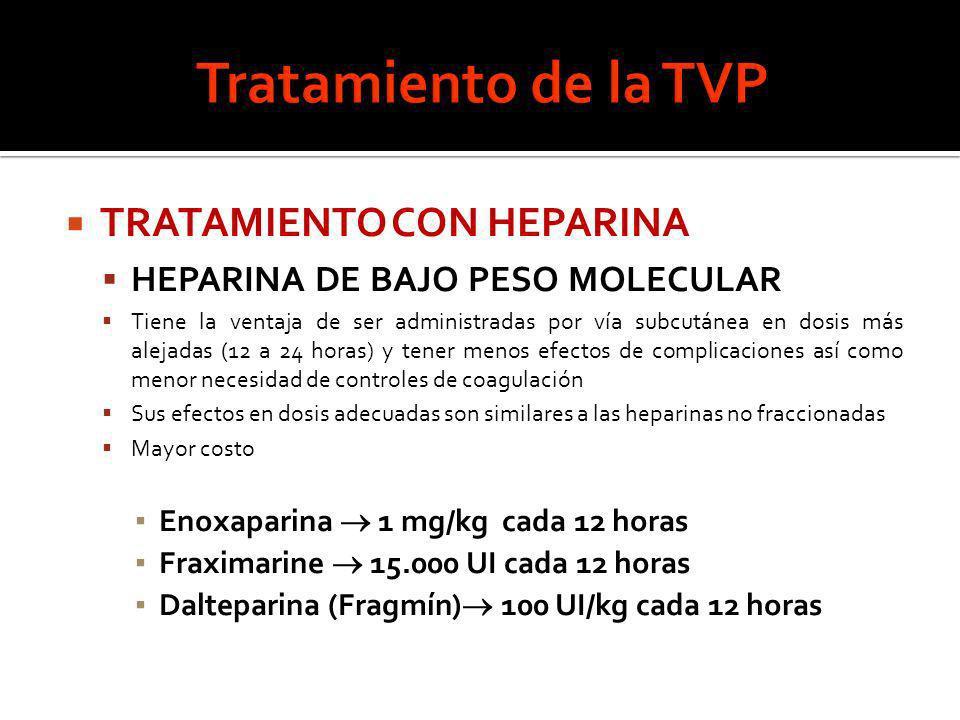 Tratamiento de la TVP TRATAMIENTO CON HEPARINA