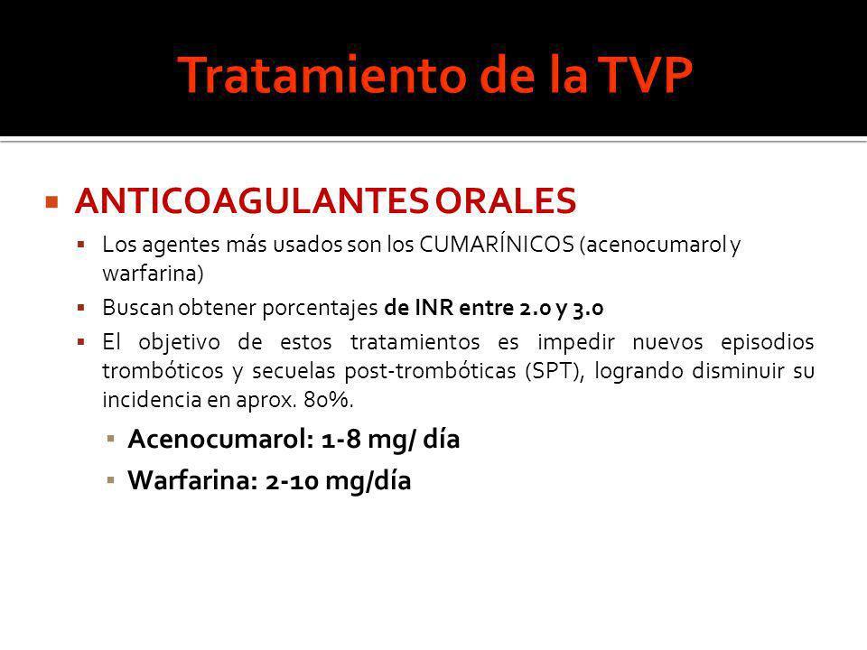 Tratamiento de la TVP ANTICOAGULANTES ORALES Acenocumarol: 1-8 mg/ día