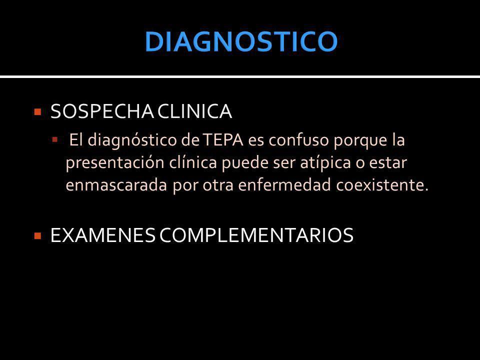 DIAGNOSTICO SOSPECHA CLINICA EXAMENES COMPLEMENTARIOS