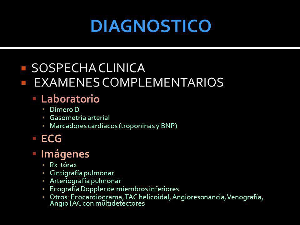DIAGNOSTICO SOSPECHA CLINICA EXAMENES COMPLEMENTARIOS Laboratorio ECG
