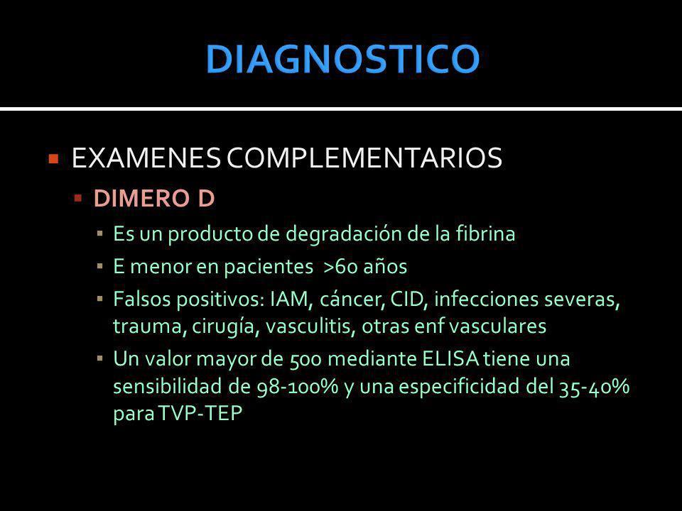 DIAGNOSTICO EXAMENES COMPLEMENTARIOS DIMERO D
