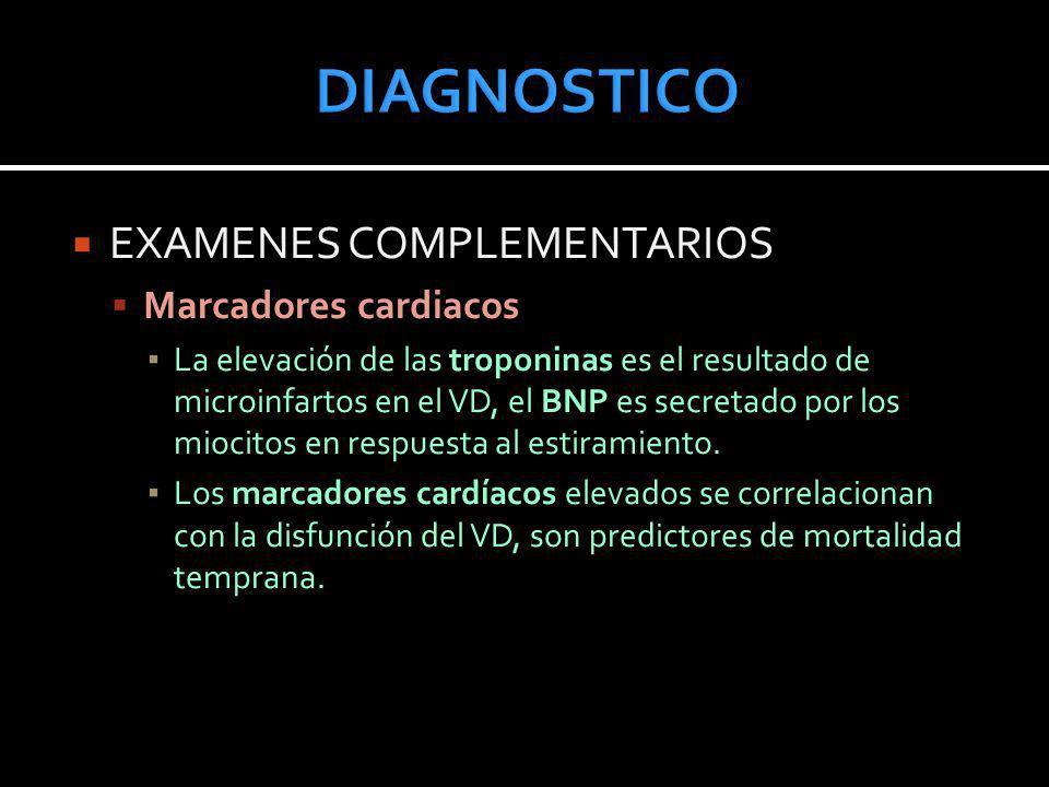 DIAGNOSTICO EXAMENES COMPLEMENTARIOS Marcadores cardiacos