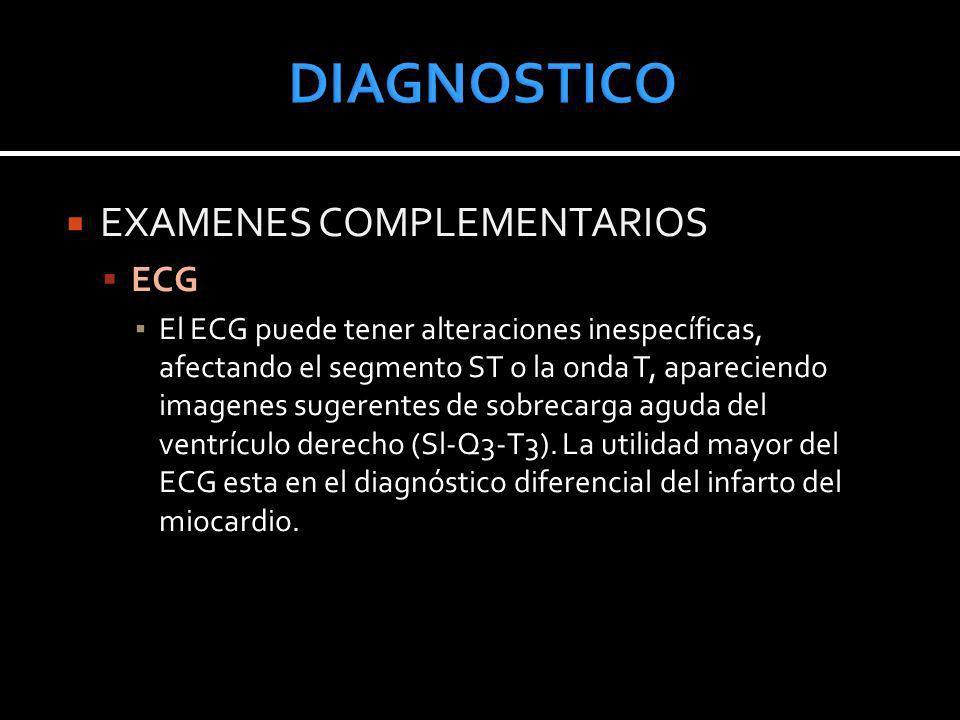 DIAGNOSTICO EXAMENES COMPLEMENTARIOS ECG