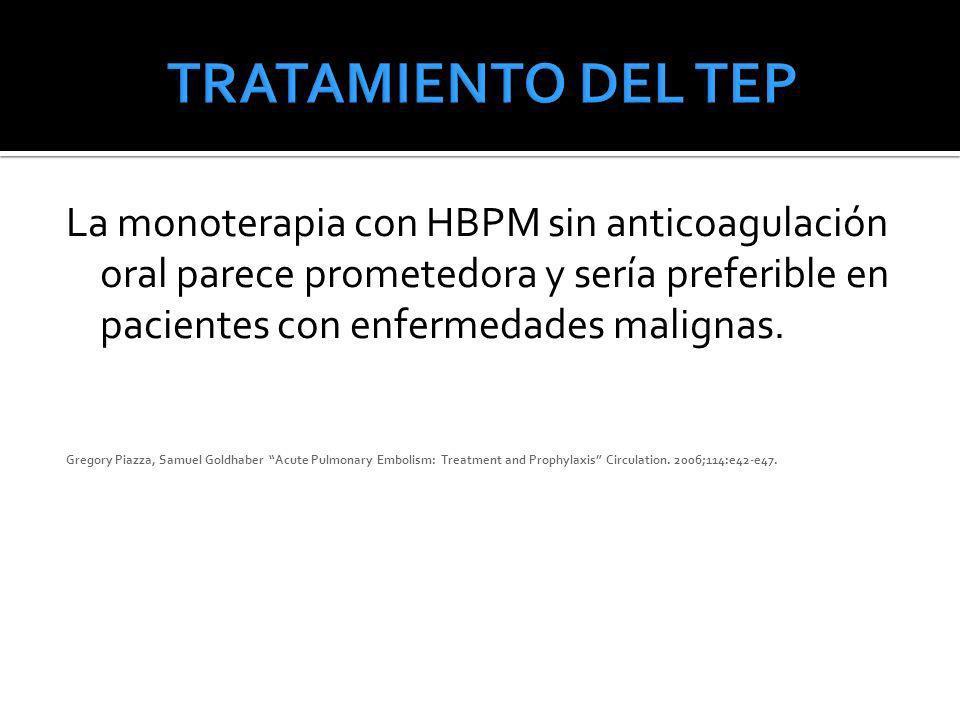 TRATAMIENTO DEL TEP La monoterapia con HBPM sin anticoagulación oral parece prometedora y sería preferible en pacientes con enfermedades malignas.