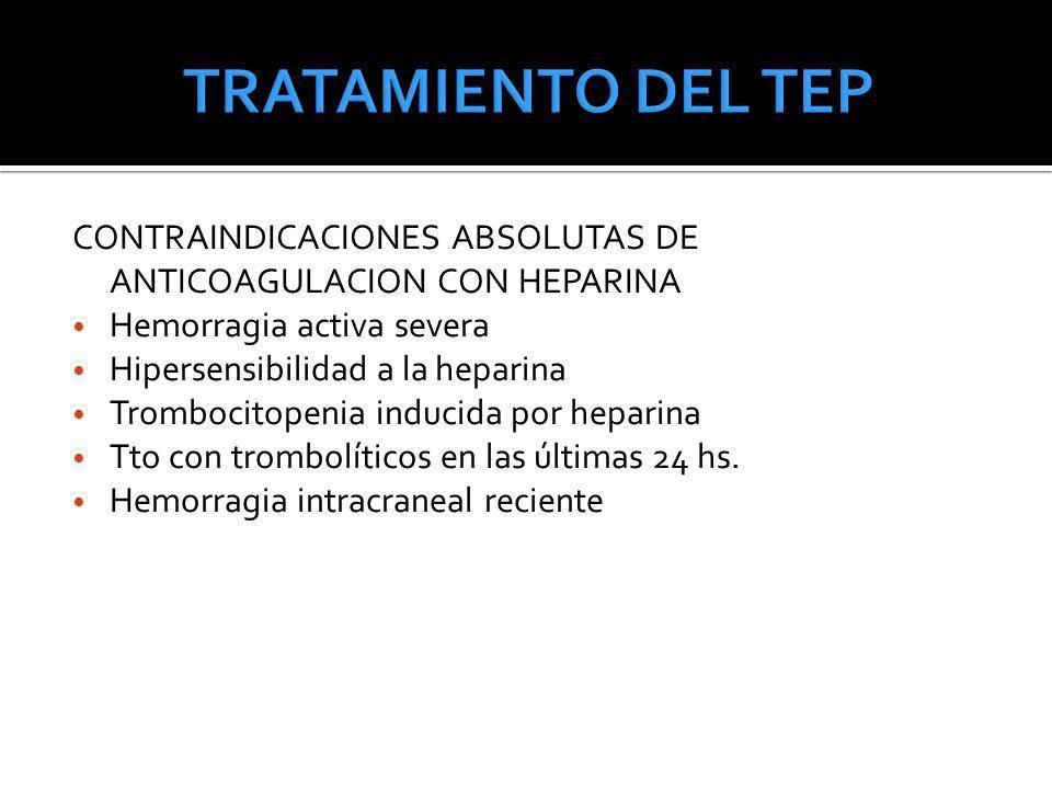 TRATAMIENTO DEL TEP CONTRAINDICACIONES ABSOLUTAS DE ANTICOAGULACION CON HEPARINA. Hemorragia activa severa.