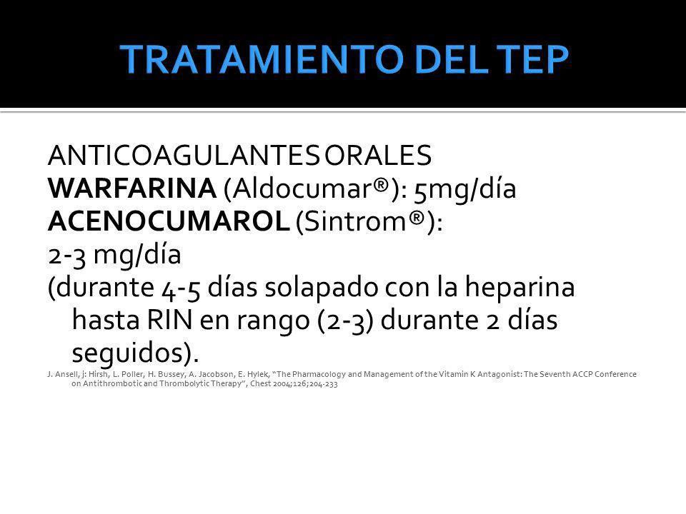 TRATAMIENTO DEL TEP ANTICOAGULANTES ORALES