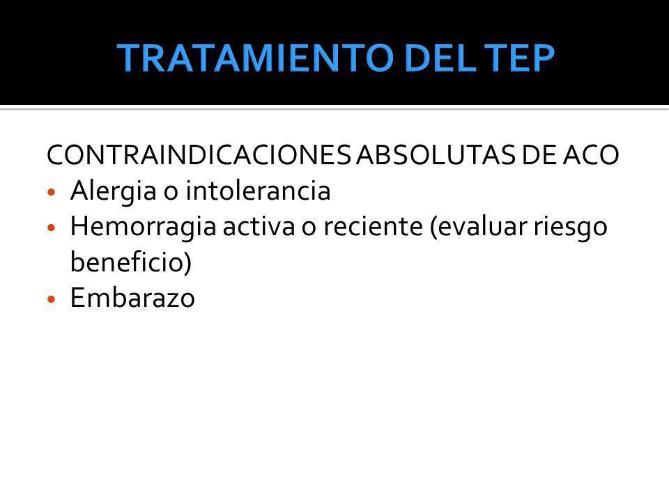TRATAMIENTO DEL TEP CONTRAINDICACIONES ABSOLUTAS DE ACO