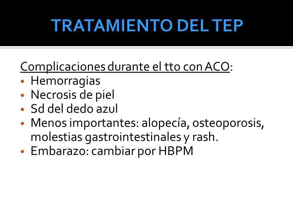 TRATAMIENTO DEL TEP Complicaciones durante el tto con ACO: Hemorragias