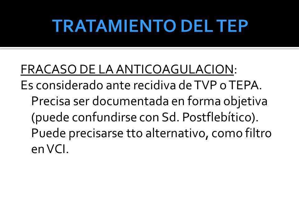 TRATAMIENTO DEL TEP FRACASO DE LA ANTICOAGULACION: