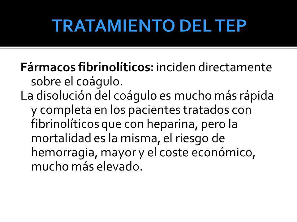 TRATAMIENTO DEL TEP Fármacos fibrinolíticos: inciden directamente sobre el coágulo.