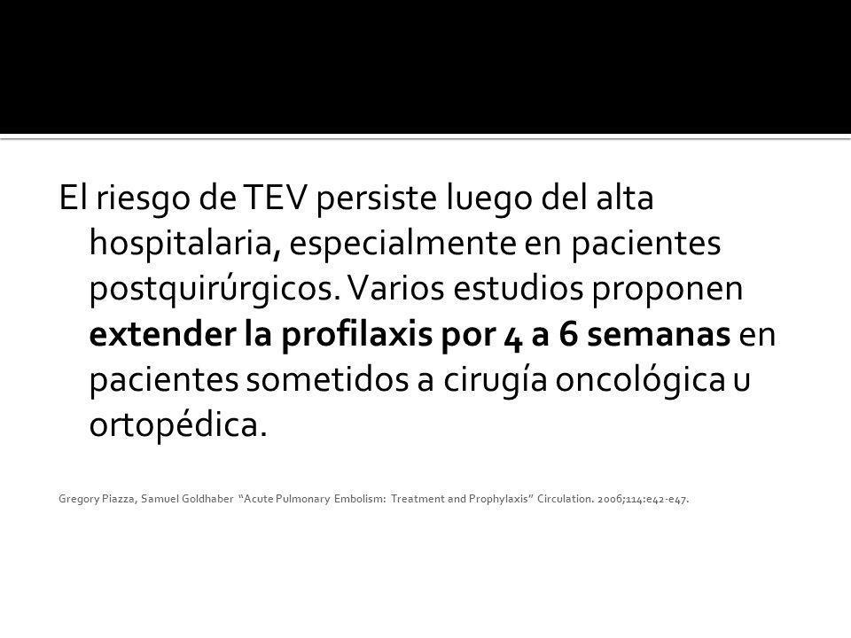 El riesgo de TEV persiste luego del alta hospitalaria, especialmente en pacientes postquirúrgicos. Varios estudios proponen extender la profilaxis por 4 a 6 semanas en pacientes sometidos a cirugía oncológica u ortopédica.