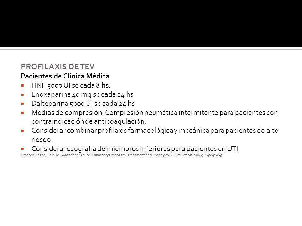 PROFILAXIS DE TEV Pacientes de Clínica Médica