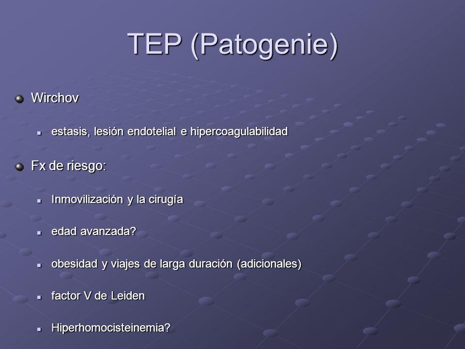 TEP (Patogenie) Wirchov Fx de riesgo: