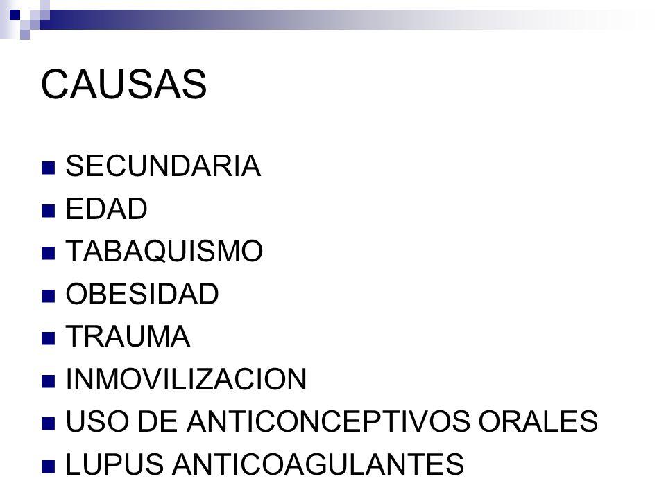 CAUSAS SECUNDARIA EDAD TABAQUISMO OBESIDAD TRAUMA INMOVILIZACION