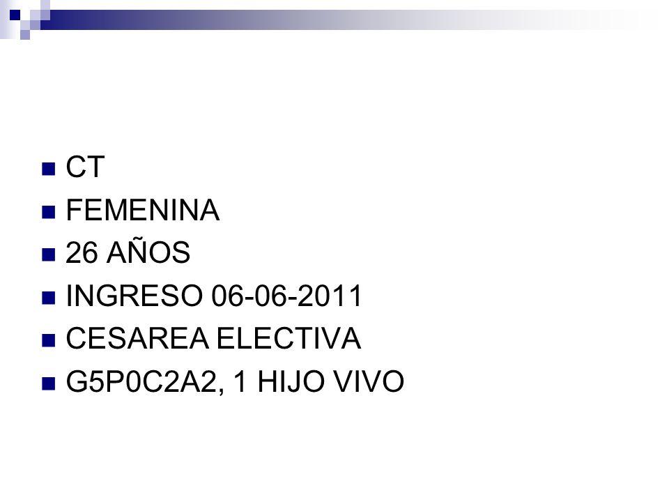 CT FEMENINA 26 AÑOS INGRESO 06-06-2011 CESAREA ELECTIVA G5P0C2A2, 1 HIJO VIVO