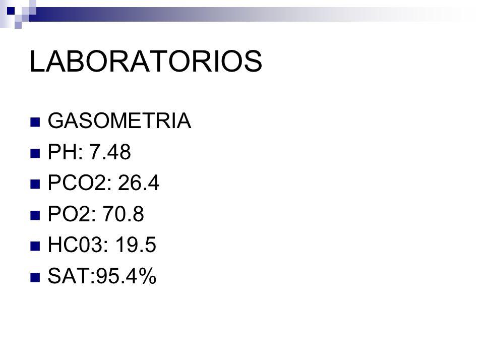 LABORATORIOS GASOMETRIA PH: 7.48 PCO2: 26.4 PO2: 70.8 HC03: 19.5