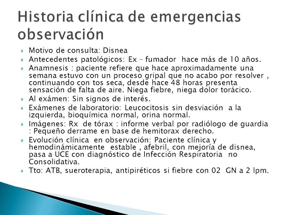 Historia clínica de emergencias observación