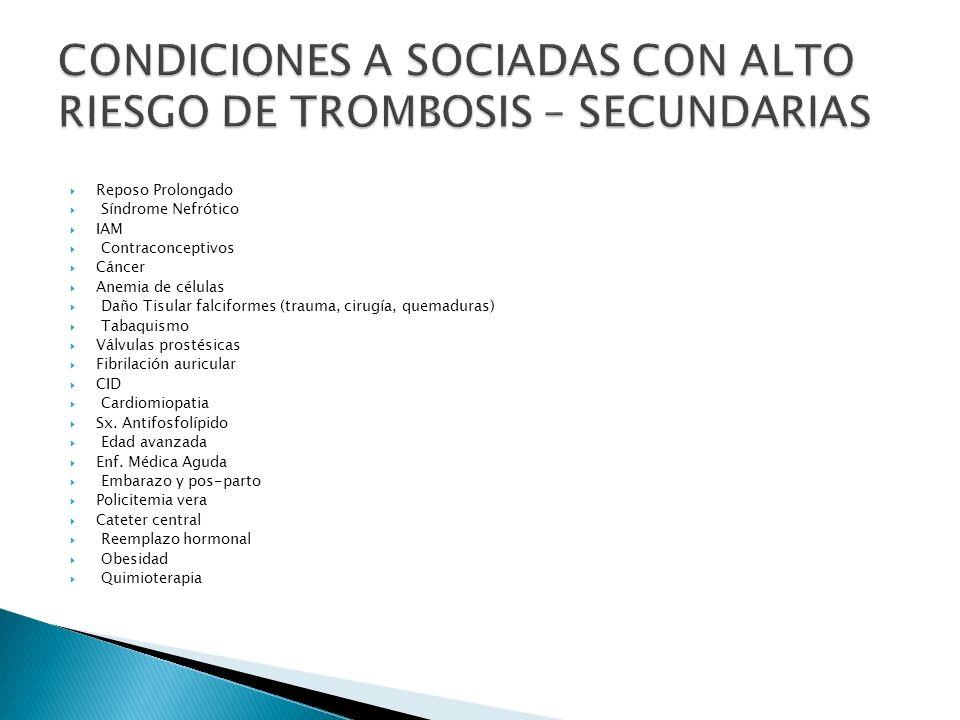 CONDICIONES A SOCIADAS CON ALTO RIESGO DE TROMBOSIS – SECUNDARIAS