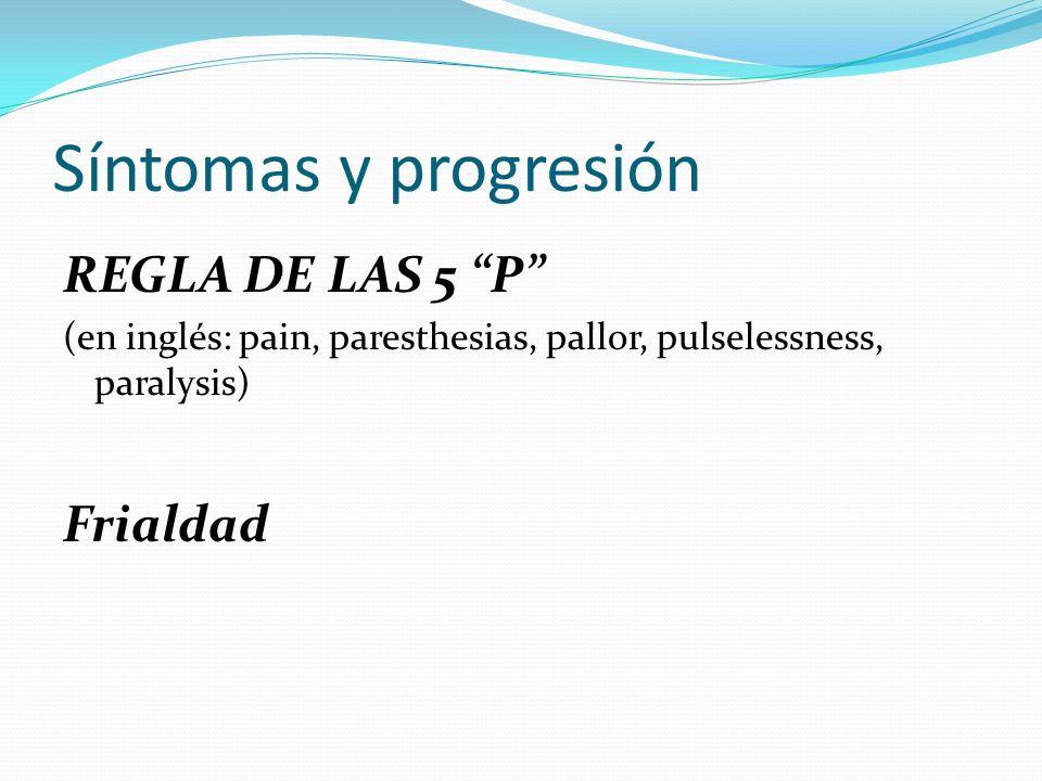 Síntomas y progresión REGLA DE LAS 5 P Frialdad