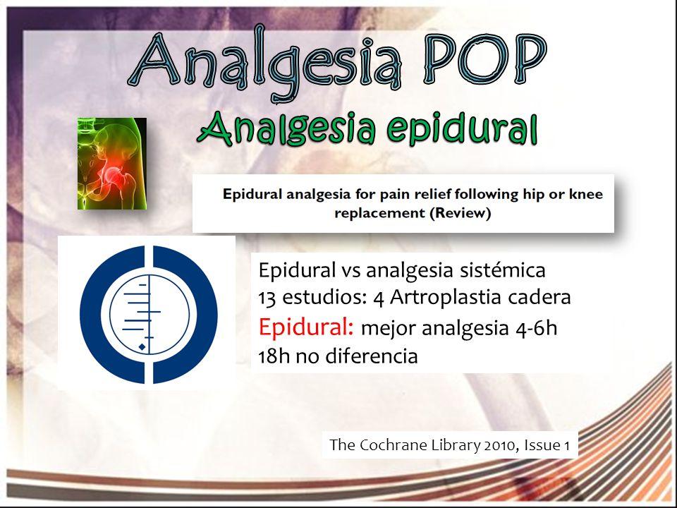 Analgesia POP Analgesia epidural Epidural: mejor analgesia 4-6h