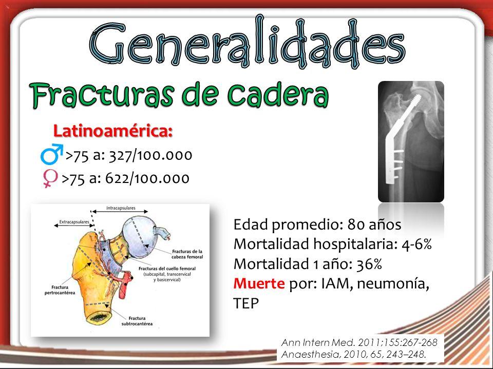 Generalidades Fracturas de cadera Latinoamérica: >75 a: 327/100.000