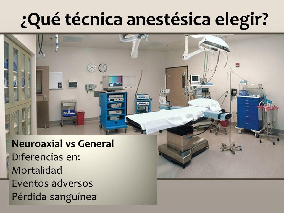 ¿Qué técnica anestésica elegir