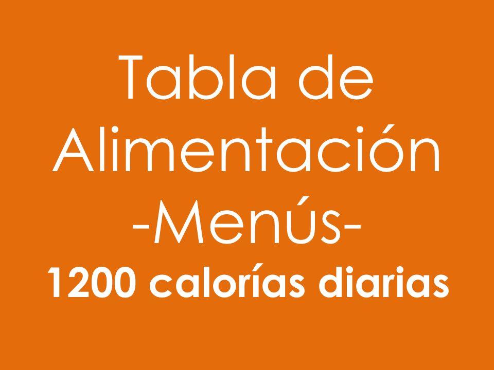 Tabla de Alimentación -Menús- 1200 calorías diarias