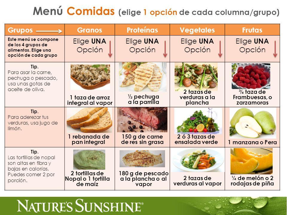 Menú Comidas (elige 1 opción de cada columna/grupo)