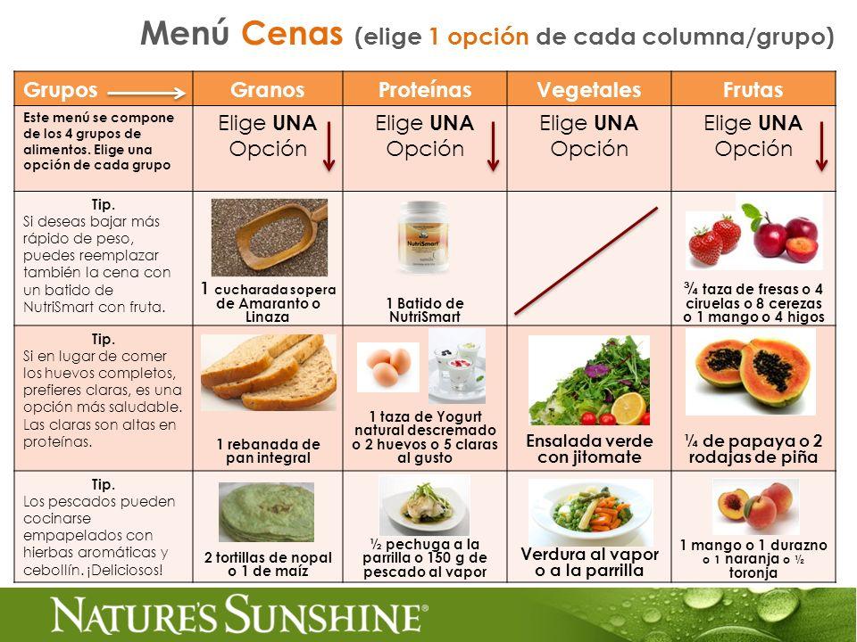 Menú Cenas (elige 1 opción de cada columna/grupo)