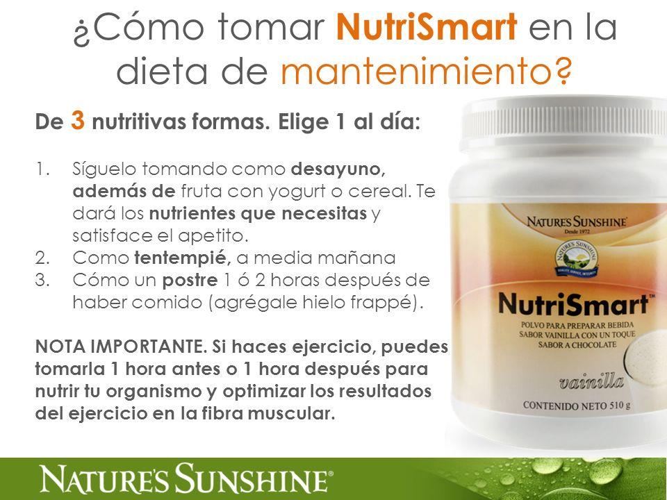 ¿Cómo tomar NutriSmart en la dieta de mantenimiento