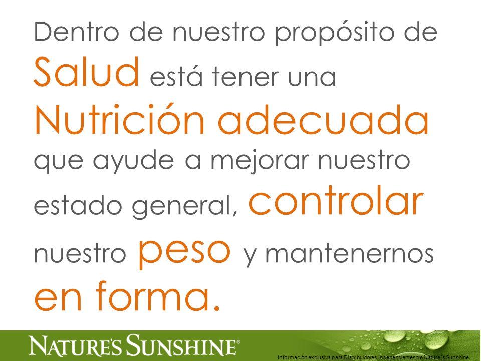 Dentro de nuestro propósito de Salud está tener una Nutrición adecuada que ayude a mejorar nuestro estado general, controlar nuestro peso y mantenernos en forma.