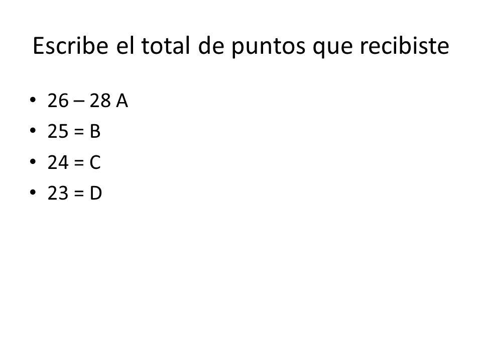 Escribe el total de puntos que recibiste